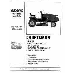 Craftsman Tractor Parts Manual 944.609040
