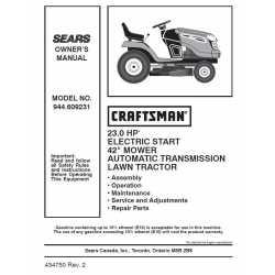 Craftsman Tractor Parts Manual 944.609231