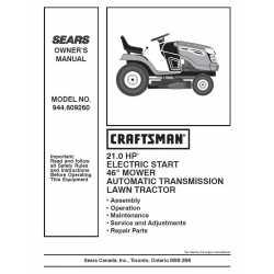 Craftsman Tractor Parts Manual 944.609260