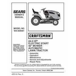 Craftsman Tractor Parts Manual 944.609301