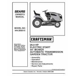 Craftsman Tractor Parts Manual 944.609310