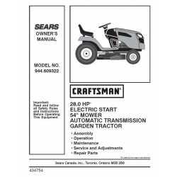 Craftsman Tractor Parts Manual 944.609322