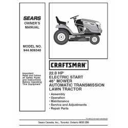 Craftsman Tractor Parts Manual 944.609340
