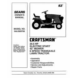 Craftsman Tractor Parts Manual 944.609700