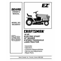 Craftsman Tractor Parts Manual 944.609761